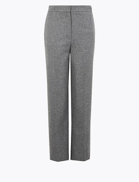 Wool Rich Straight Leg 7/8th Trousers