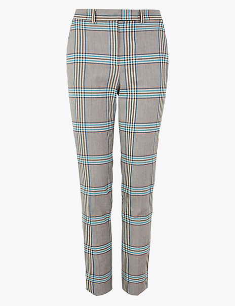 Checked Slim Ankle Grazer Trousers