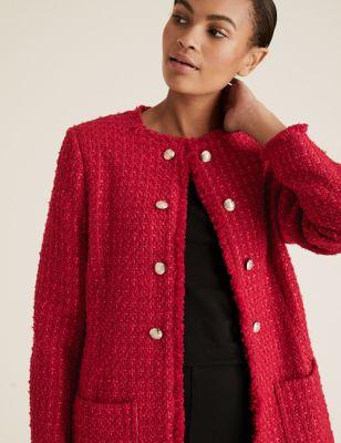 Womens M&S Collection Blazer coupe longue et droite en tweed - Red