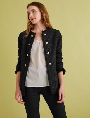 Womens M&S Collection Blazer coupe longue et droite en tweed - Black