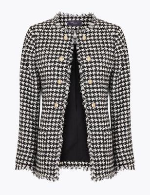 Womens M&S Collection Veste coupe longue et droite en tweed à motif pied-de-poule - Black Mix