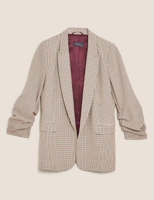 Relaxed Checked Ruched Sleeve Blazer
