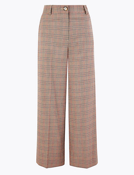 Checked Wide Leg 7/8th Trousers