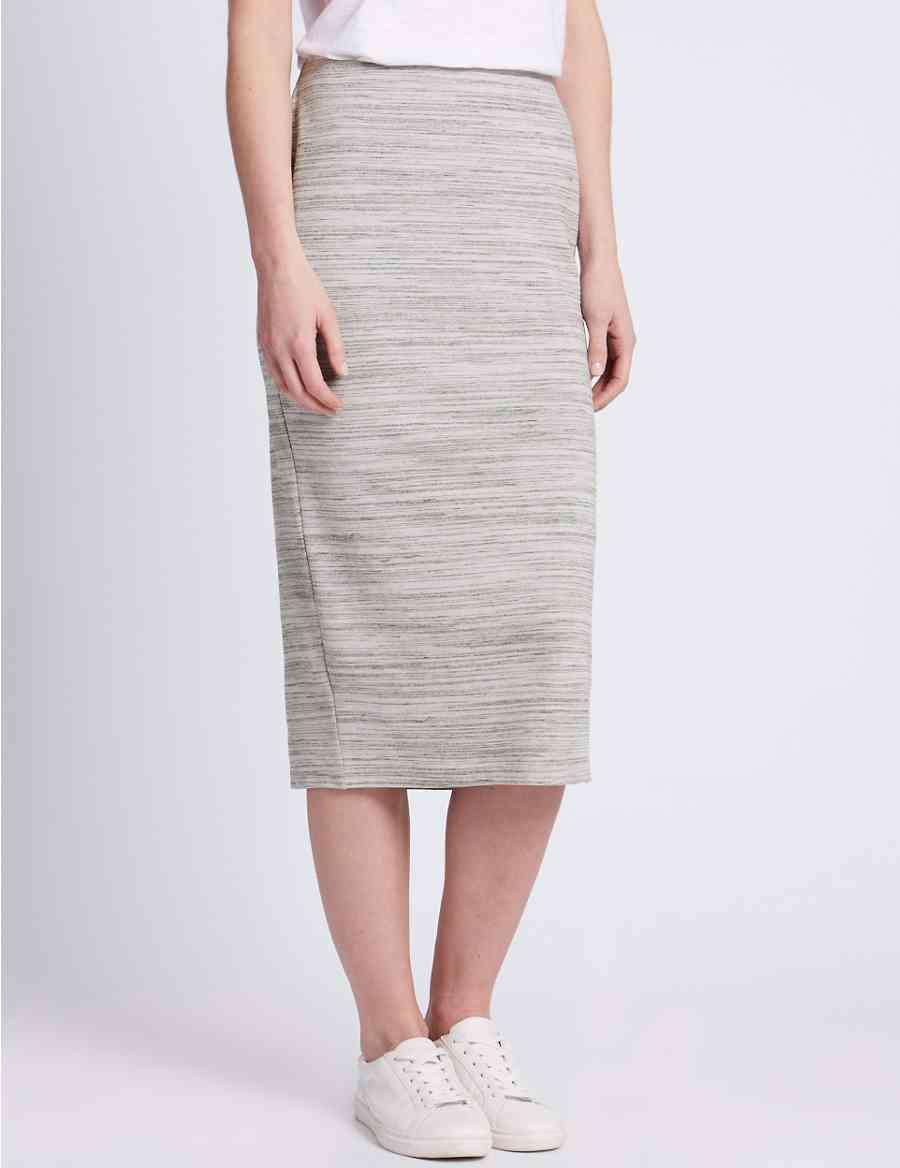 Cotton Rich Slub Tube Pencil Skirt Ms Collection Ms