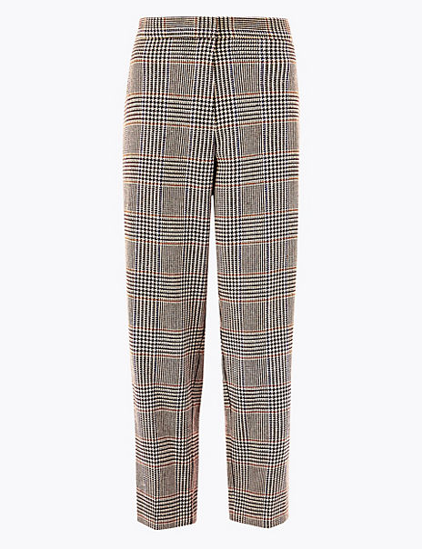 Evie Checked Straight Leg 7/8th Trousers