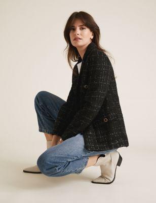 Womens M&S Collection Veste coupe droite en tweed à carreaux - Black