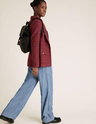 Womens M&S Collection Blazer coupe droite en tweed à motif pied-de-poule - Red