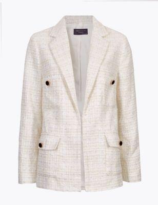 Womens M&S Collection Blazer droite en tweed avec laine, effet scintillant - Ivory
