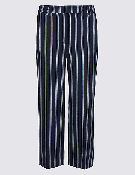 PETITE Striped Wide Leg Cropped Trousers