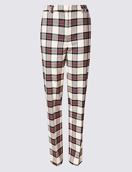 Relaxed Straight Leg Checked Trousers