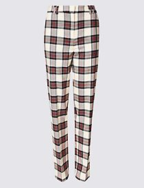 Relaxed Straight Leg Checked Trouser