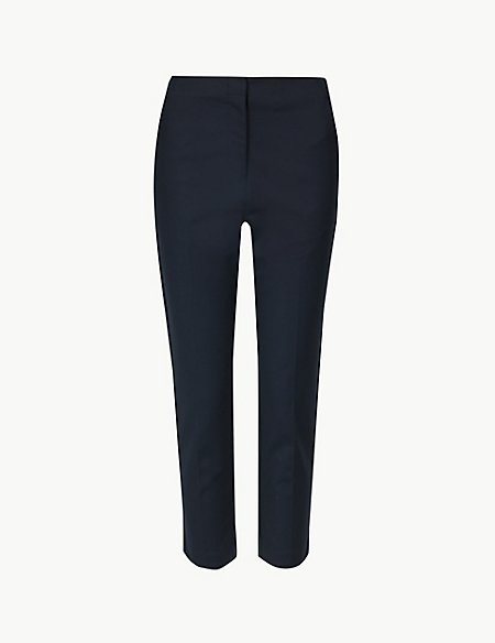 Cotton Rich Slim Cropped Trousers