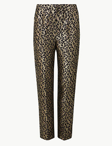 Animal Print Straight Ankle Grazer Trousers