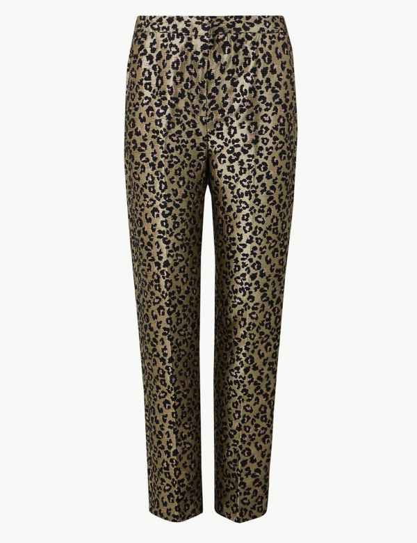 200b7c9b1e795 Animal Print Straight Ankle Grazer Trousers