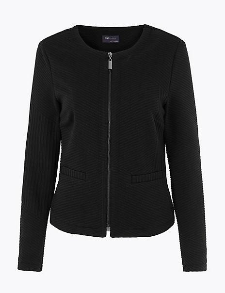 Jersey Jacquard Zip Up Jacket