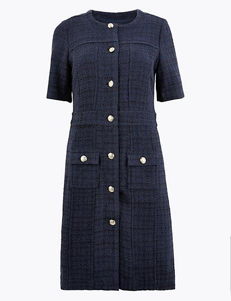 Tweed Checked Knee Length Dress