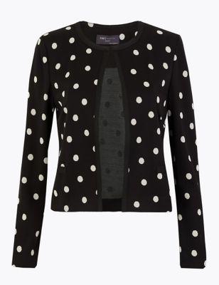 Jersey Slim Polka Dot Jacket