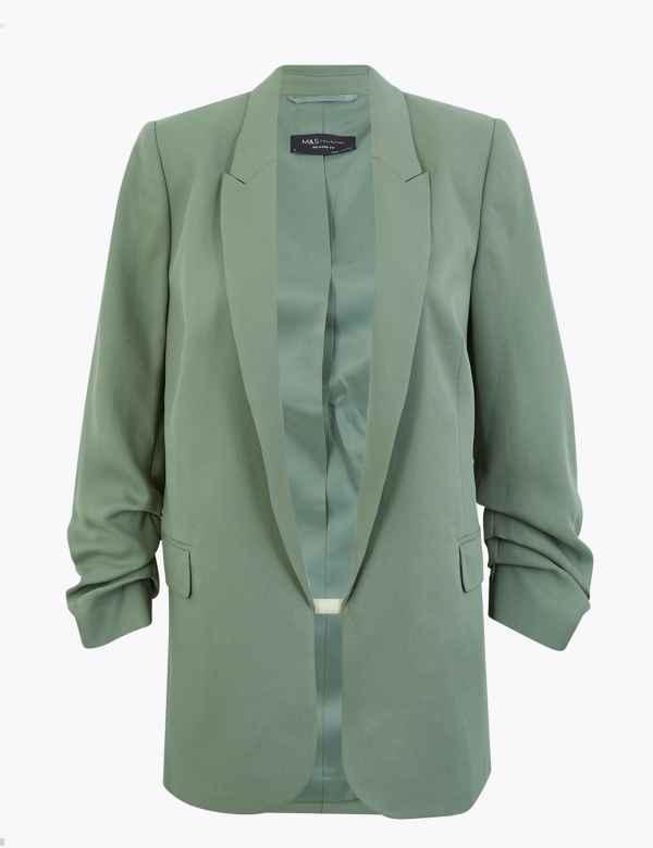 M/&S 2 Pocket Wool Blend Textured Grey Mix Coat Size 16 EUR 44