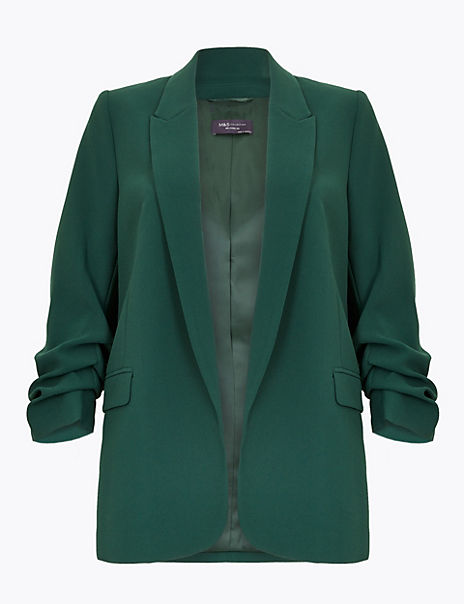 Open Front Ruched Sleeve Blazer