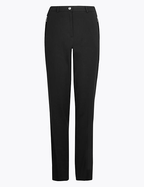 Straight Leg Zip Pocket Trousers