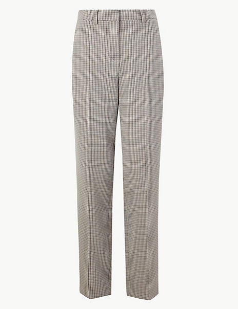Checked Straight Fit Trousers