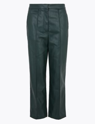 Evie Straight Leg Faux Leather 7/8 Trousers