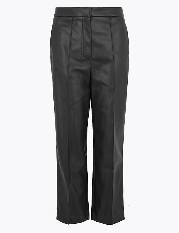 Faux Leather Straight Leg 7/8 Trousers
