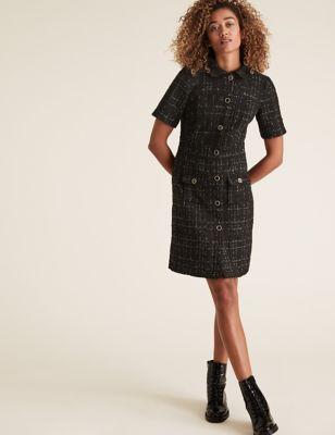 Womens M&S Collection Robe en tweed et lurex longueur genou - Black Mix