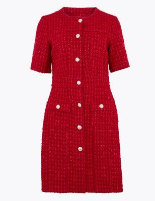 Womens M&S Collection Robe coupe courte en tweed à taille ajustée et fermeture avant boutonnée - Red