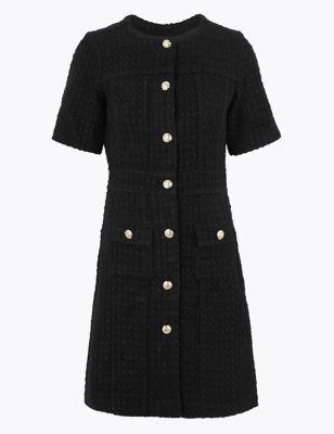 Womens M&S Collection Robe coupe courte en tweed à taille ajustée et fermeture avant boutonnée - Black