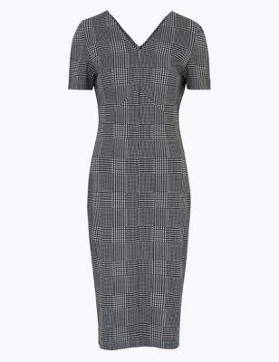 Jersey Checked V-Neck Midi Tailored Dress