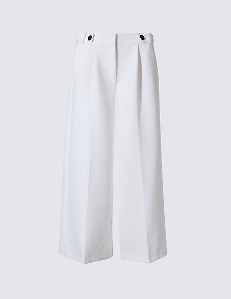 Button Detail Wide Leg Trousers