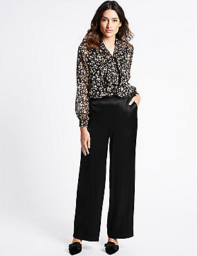 Velvet Wide Leg Trousers