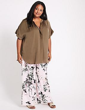 CURVE Floral Print Wide Leg Trousers