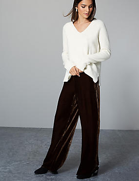 Velvet Wide Leg Trousers with Silk