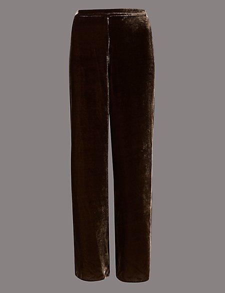 Velvet Wide Leg Trousers with Silk
