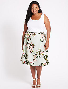 CURVE Floral Print Scuba A-Line Midi Skirt