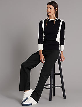Wool Blend Straight Leg Trousers