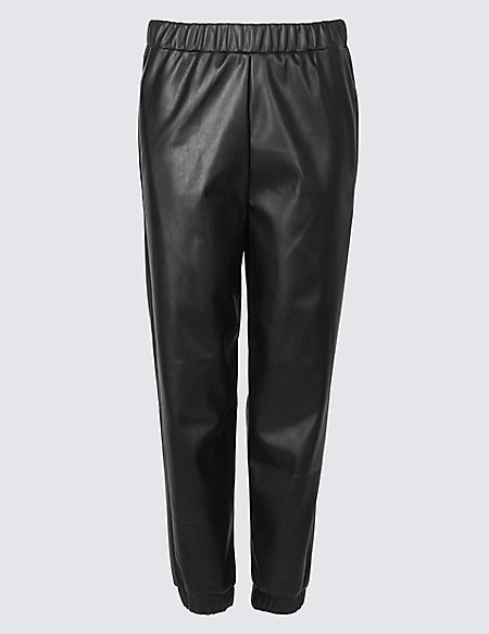 Leather Look Straight Leg Joggers