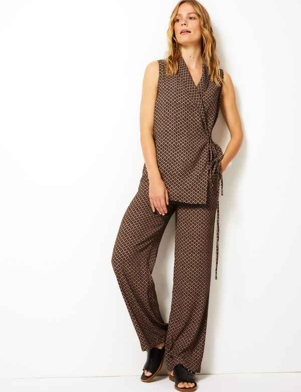 9c35fde5948 Geometric Print Wide Leg Trousers