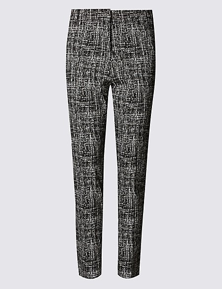 Straight Leg Textured Trousers