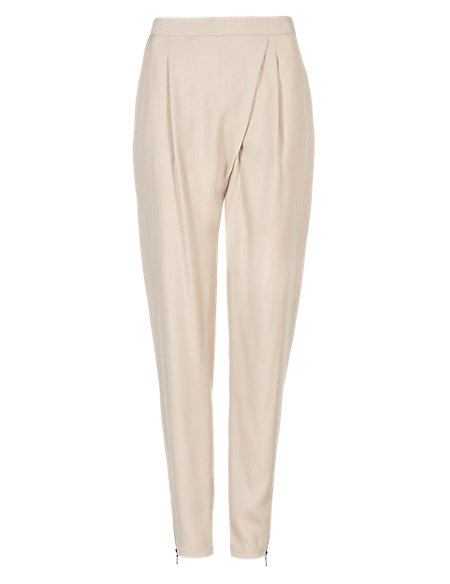 Crossover Textured Tapered Leg Trousers