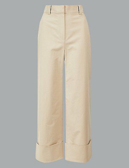 Cotton Rich Wide Leg Cropped Trousers