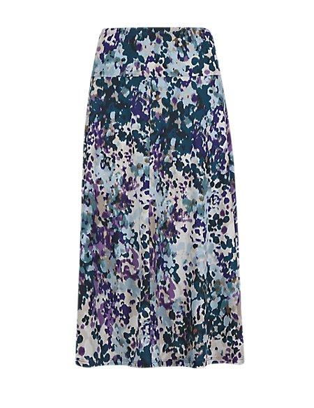 Abstract Print A-Line Skirt