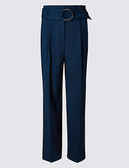 Belted Paper Bag Wide Leg Trousers