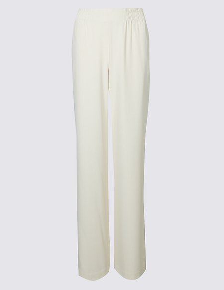 Elastic Waist Wide Leg Trousers