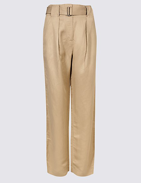 Linen Rich Wide Leg Trousers