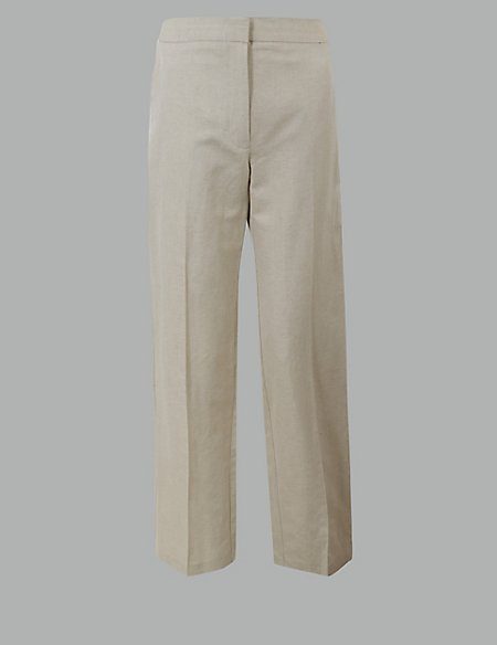Cotton Rich Straight Leg Trousers with Linen