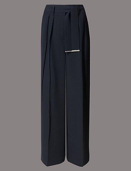 Pleated Wide Leg Trousers with Belt