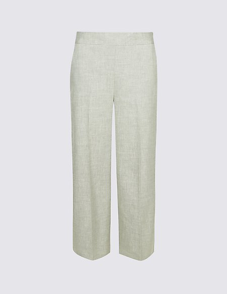Linen Rich Wide Leg Cropped Trousers